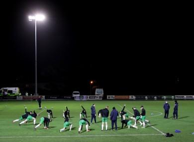 The Cabinteely team before the game against Drogheda last week.