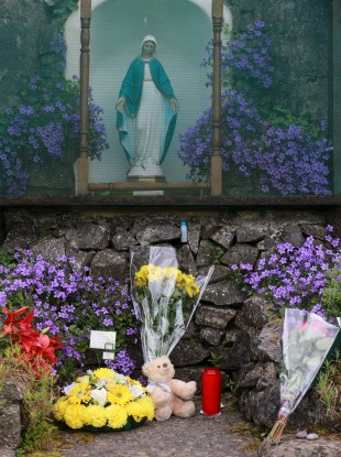 Flowers and tributes at the site of the former Bon Secours mother and baby home in Tuam, Co Galway (file photo).