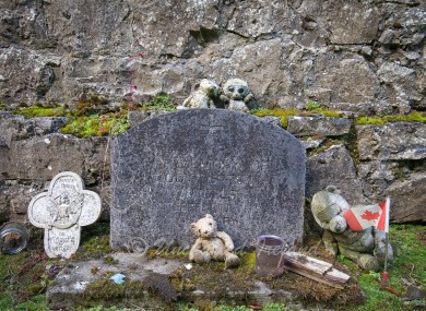 A headstone at St Peter's Mother and Baby Home in Castlepollard.