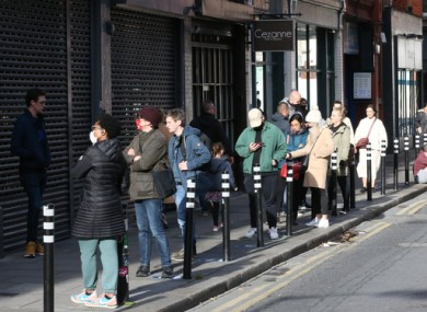 People queueing in Dublin last month.