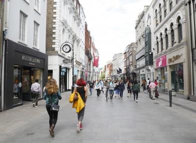 File photo. People walking through Dublin city centre.