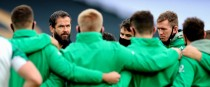 Andy Farrell speaking to his players before Sunday's clash with Georgia.