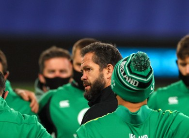 Farrell speaks to his Ireland squad before Friday's win over Wales.