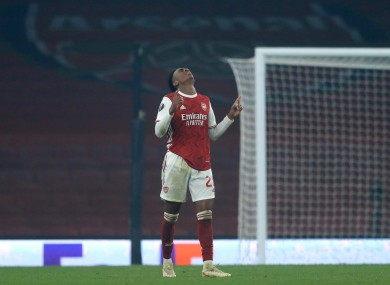 Arsenal's Joe Willock celebrates scoring.