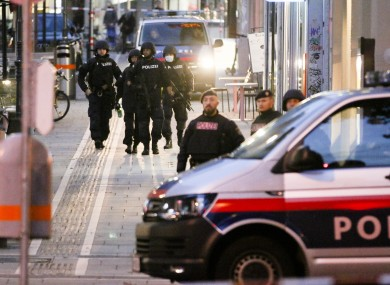 Police patrolling the scene in Vienna early on Tuesday