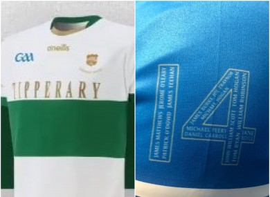 A view of two commemorative jerseys.