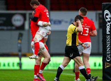 Munster's Calvin Nash celebrates with Craig Casey after scoring a try.