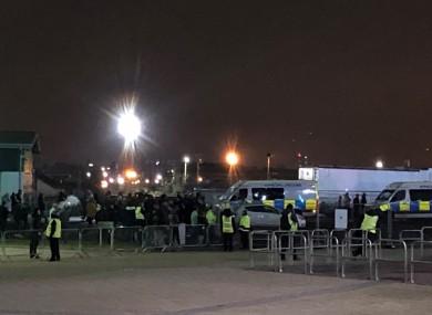 Fans gather in protest at Celtic Park.