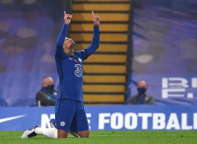 Chelsea's Thiago Silva celebrates his side's third goal this evening.