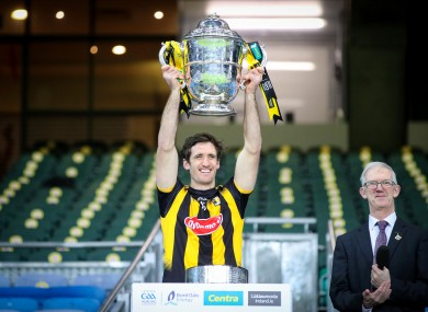 Colin Fennelly lifts the Bob O'Keeffe Cup with his team as Leinster SHC champions.