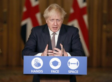 Image of British Prime Minister Boris Johnson during a media briefing on Covid-19 today.