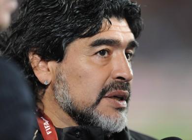 File photo of the late Diego Maradona.