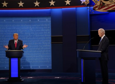 Donald Trump and Joe Biden during a presidential debate on 22 October