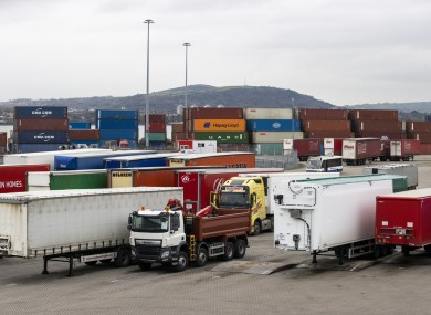 Shipping containers and lorry at the Stena Line terminal