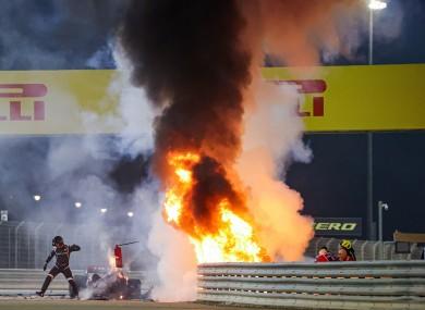 Romain Grosjean's car engulfed in flames.