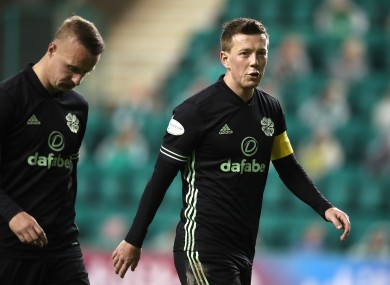 Celtic's Leigh Griffiths (left) and Callum McGregor walk off the pitch