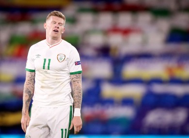 Ireland's James McClean dejected after the game.
