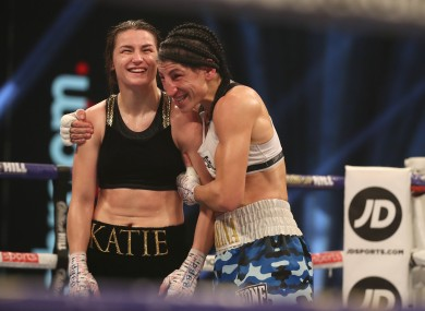 Katie Taylor with Miriam Gutierrez after the bout.