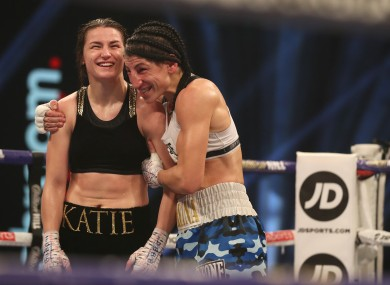 Miriam Gutierrez embraces Katie Taylor following their fight on Saturday.