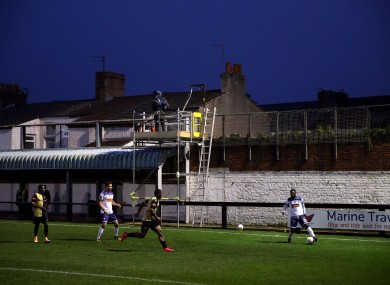 Marine in action against Havant and Waterlooville at their home ground, Rossett Park, during the second round.