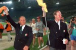 Maurice Setters (left) and Jack Charlton pictured after Ireland's quarter-final loss to Italy at the 1990 World Cup.