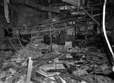 File photo dated 22 November 1974 of the rubble in the Mulberry Bush pub in Birmingham after one of the bombs detonated