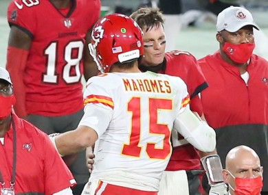 Patrick Mahomes and Tom Brady afterwards.