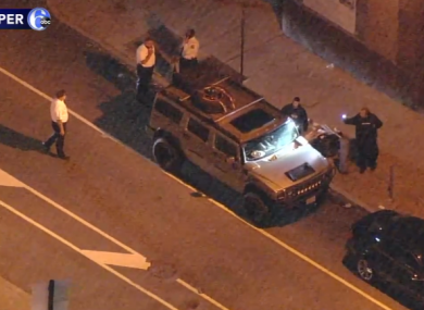 A screengrab from a local news helicopter shows the Hummer close to the election count centre