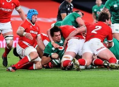 Roux scored his third try for Ireland on Friday night.