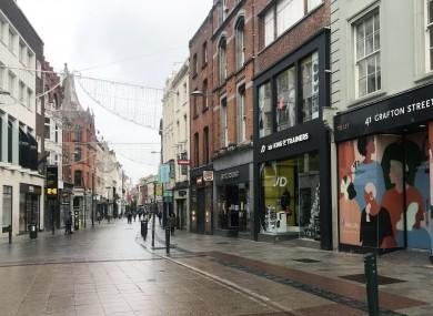 A rainy Grafton Street, Dublin this morning.
