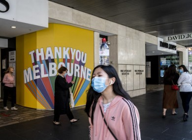 Shoppers in Melbourne enjoying the easing of Covid-19 restrictions.