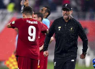 Klopp with Firmino at the Club Word Cup final last year.