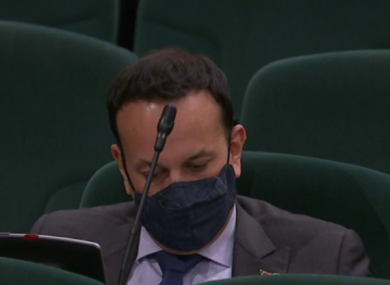 Leo Varadkar during this evening's debate in the Dáil this evening.