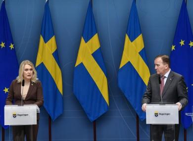 Sweden's Minister for Health Lena Hallengren and Prime Minister Stefan Lofven.