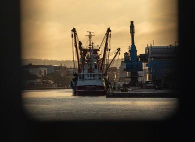 British boats during sunrise at Shoreham Docks. October 2020.