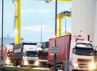 Trucks at Dublin Port (file photo)