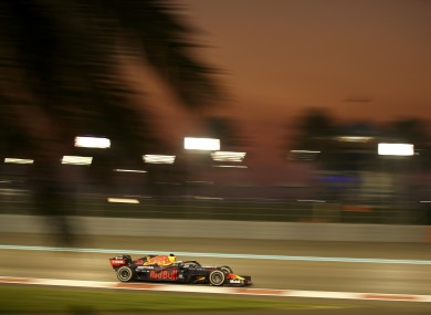 Red Bull driver Max Verstappen of the Netherlands leads the Formula One race in the Yas Marina.