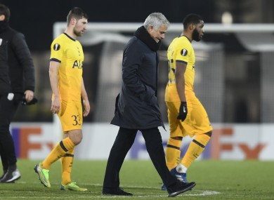 Jose Mourinho leaves after the game.