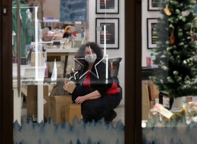 A Christmas gift shop is packed away in Canterbury, Kent.