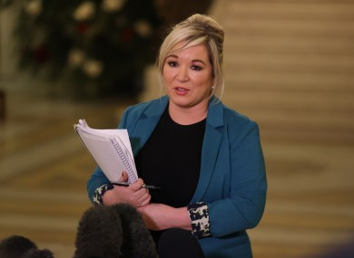 Michelle O'Neill speaking at a press conference earlier this month.