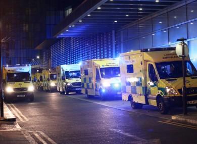 Ambulances queued outside the Royal London Hospital