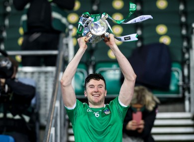 Declan Hannon lifts the Liam MacCarthy Cup after Limerick's win.