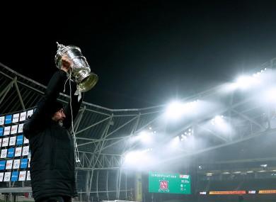 Winner, winner: Giovagnoli celebrates with the FAI Cup.