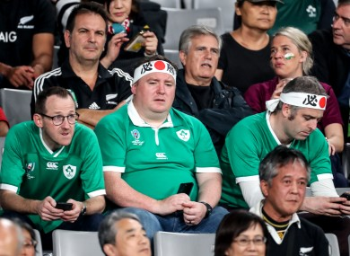Dejected Ireland fans after last year's quarter-final defeat to New Zealand.