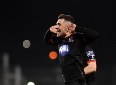 Flores celebrates his goal against Rovers.