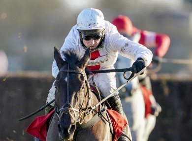 Harry Skelton riding Nube Negra on the way to winning The Ladbrokes Desert Orchid Chase at Kempton.