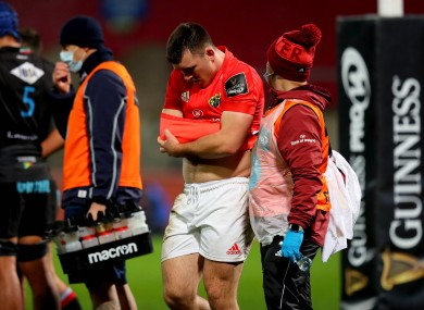 Gallagher suffered the injury in Munster's win over Zebre.