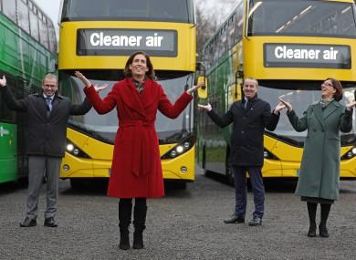 Minister of State, Hildegarde Naughton TD,Anne Graham, CEO of the NTA,Stephen Kent, CEO, Bus Éireann and Ray Coyne, CEO, Dublin Bus.