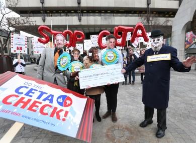 Anti-CETA activists at a protest in 2016.