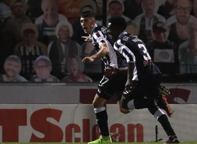 Jamie McGrath celebrates with St Mirren team-mate Brandon Mason after scoring his second goal against Rangers.